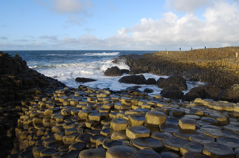 Giant's Causeway in Northern Ireland , Irish Fairy tales state that it was built by giants to meet each other for a fight
