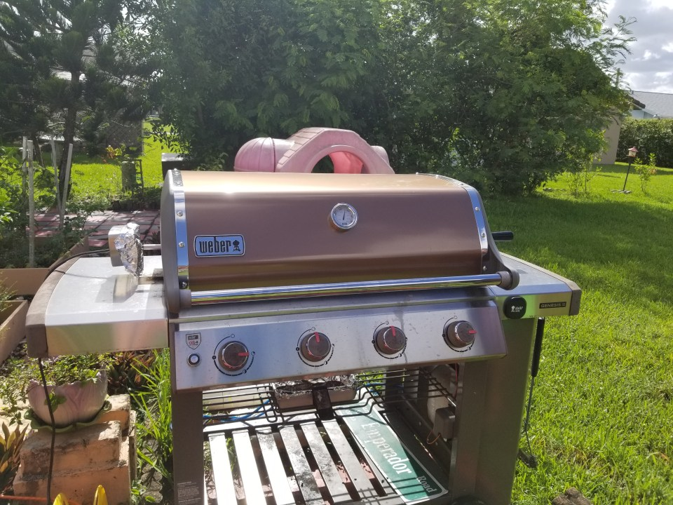 shows a gas grill with rotisserie great ideas for fathers day gifts