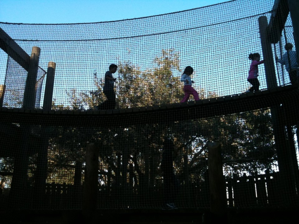 interactive playground with suspended bridges at Legoland FL