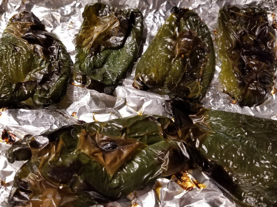Roasted Poblano peppers for poblano best burgers recipe