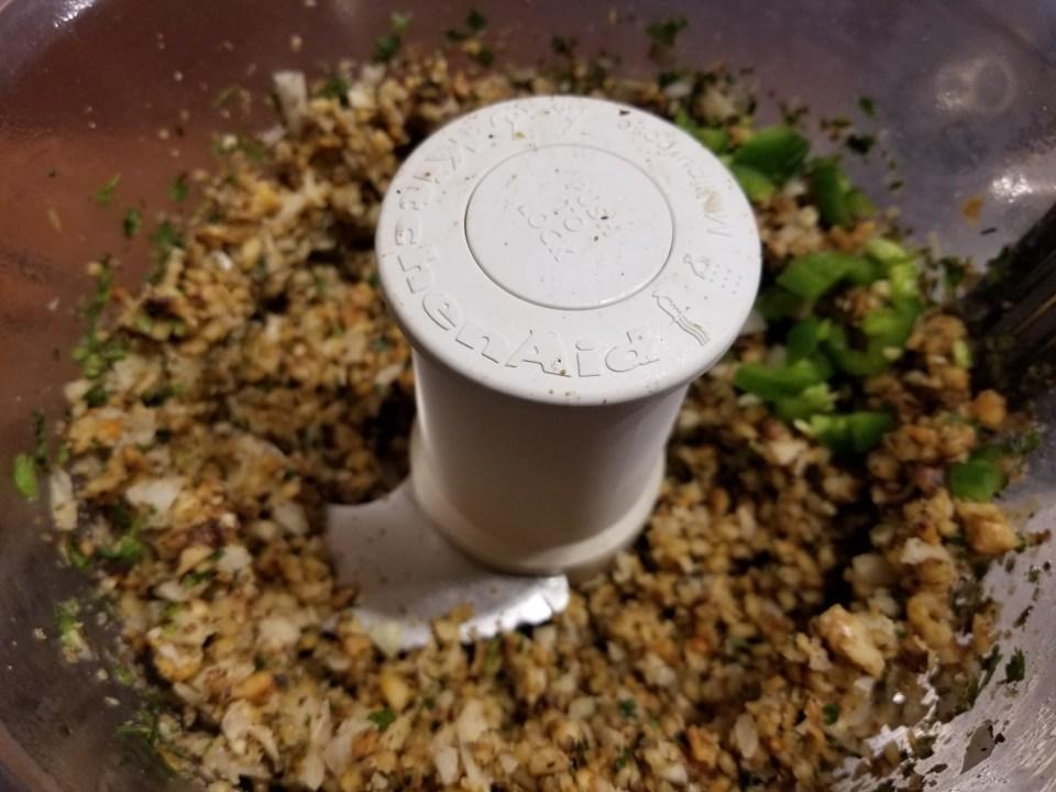 ingredients for bean burgers in food processor