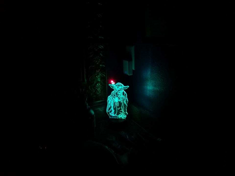 changing color night light of Yoda at the coolest Airbnb