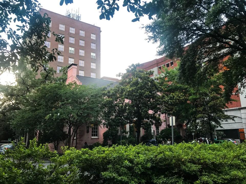green fall foliage surrounding old buildings in Savannah