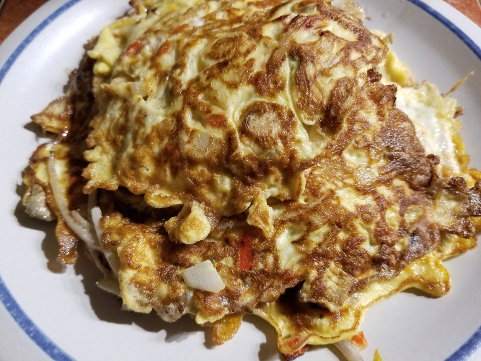 egg foo young as an appetizer before kung pavo shrimp