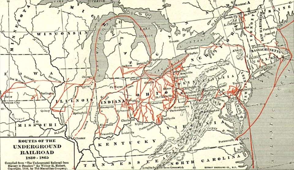 history travel on a map of the underground railroad
