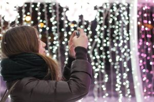Taking a Picture Of Leavenworth Christmas Lights