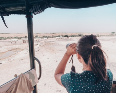 woman using binoculars looking at Jordan Shaumari wildlife