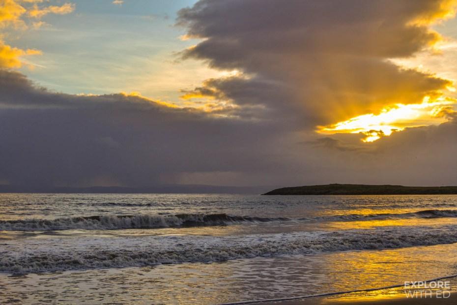 Barry Island beach at sunset