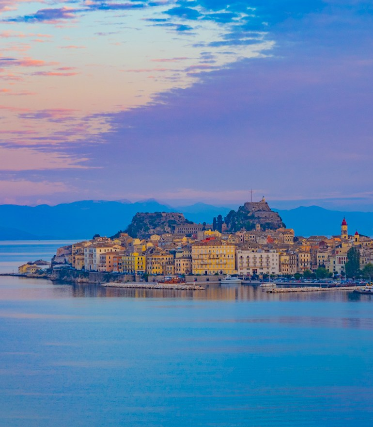 Corfu Town, Corfu, Greece at sunset