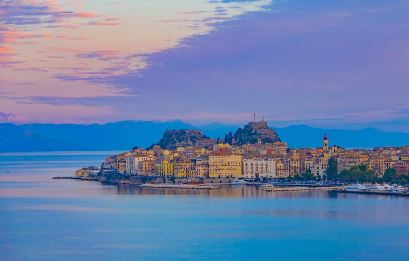 Corfu Town, Corfu, Greece at sunset