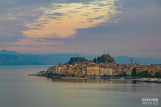 View of Corfu in Greece at sunset