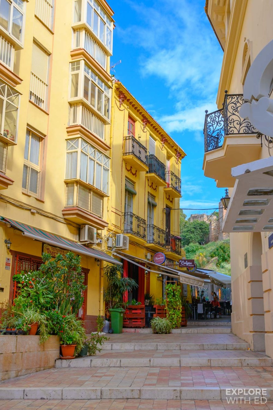 Charming side streets in Malaga, Spain