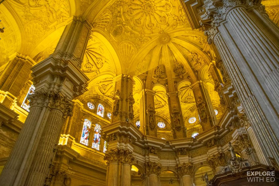 The stunning architecture inside Malaga Cathedral