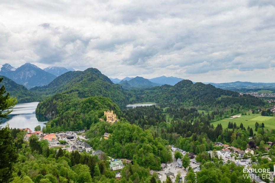 Hohenschwangau Castle and the beautiful mountainous landscape