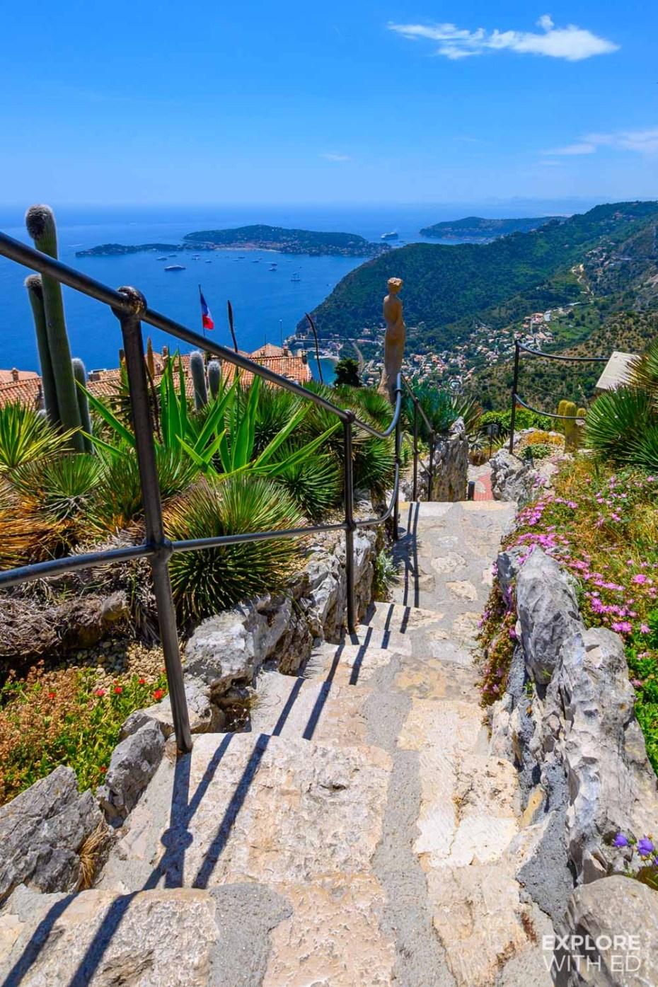 Hillside exotic garden path at Eze