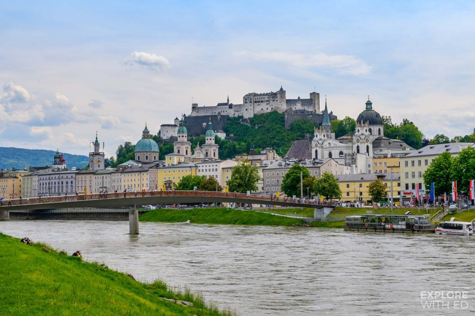 A view of beautiful Salzburg, Austria from the river bank