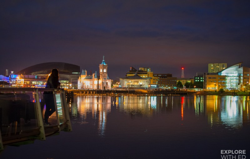 The view over Cardiff Bay at night from The Admiral restaurant in St David
