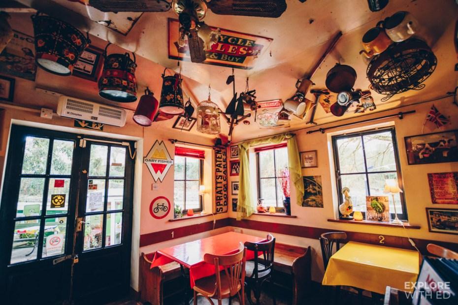 Quirky decor inside Bradford-on-Avon's Lock Inn cafe