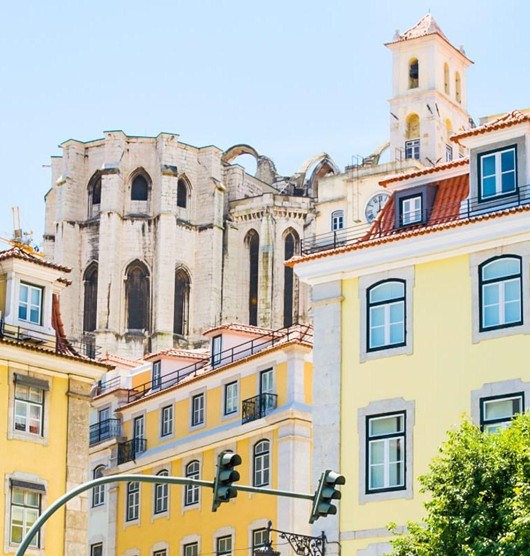 Pretty yellow buildings in Lisbon, Portugal