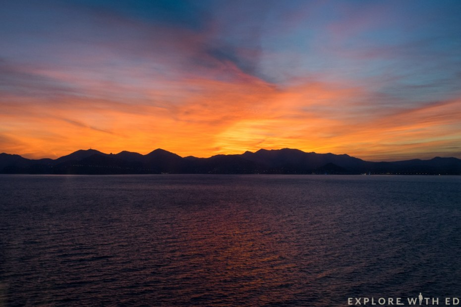 Sunset in Cannes, France, Cruise Sailaway