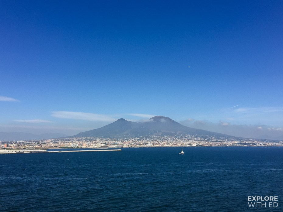 Departing the cruise port of Naples, Italy with a view of Mount Vesuvius