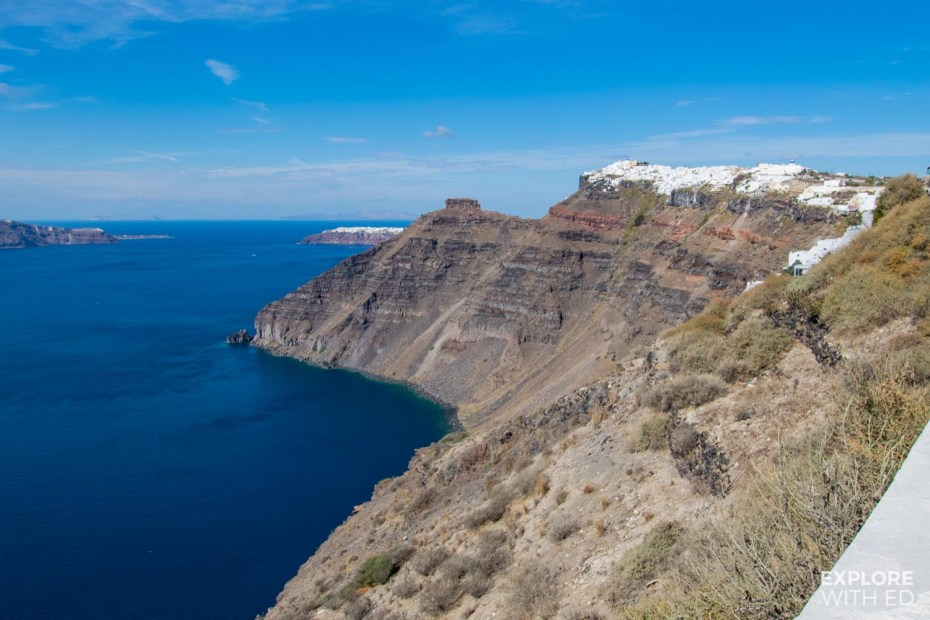 The caldera of Santorini with white washed towns and villages