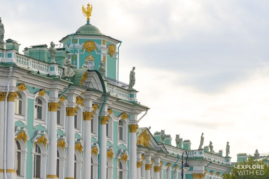 The Winter Palace facade with statues