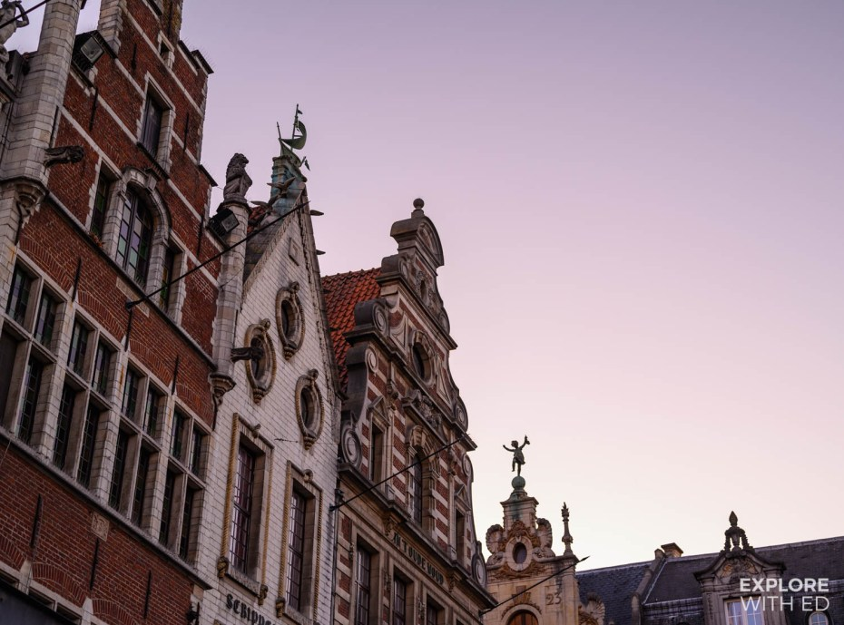 The characterful rooftops in Leuven's square