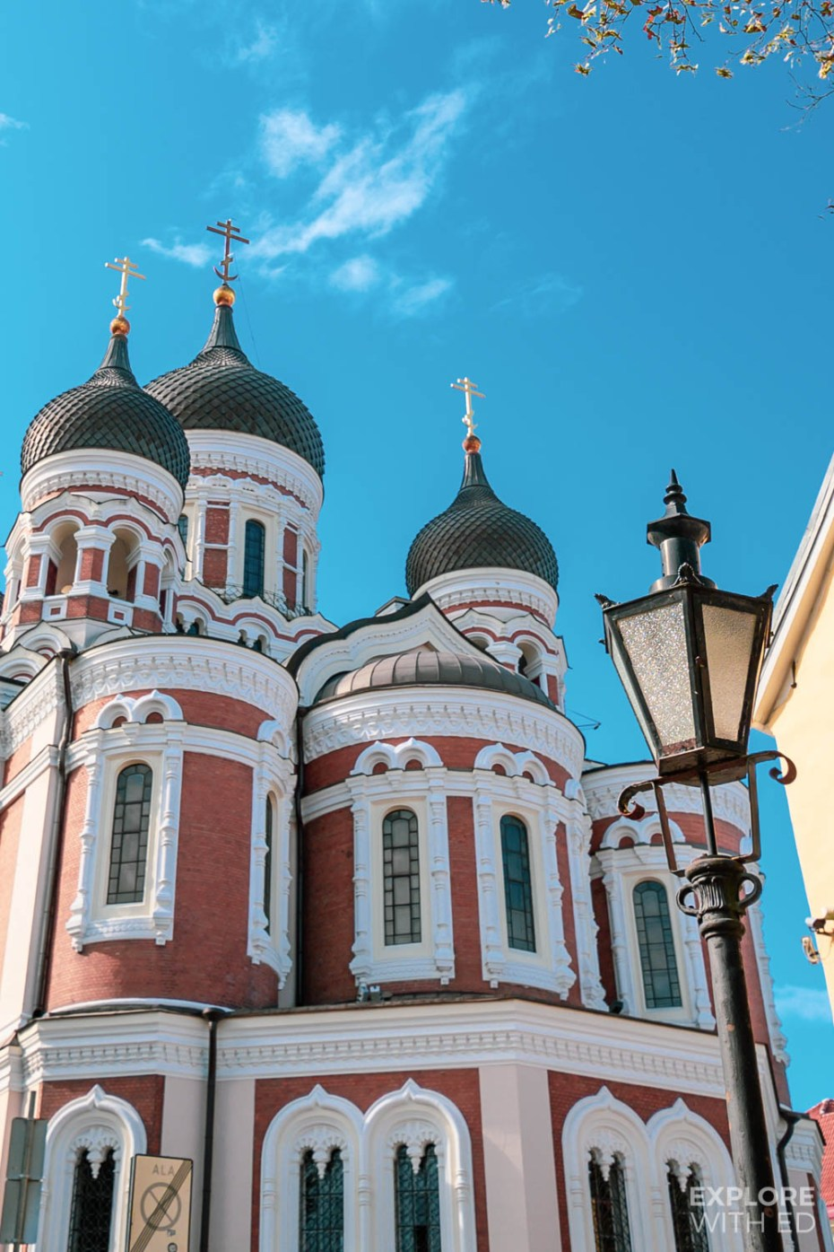 The round towers of Alexander Nevsky Cathedral is a beautiful piece of architecture in Tallinn