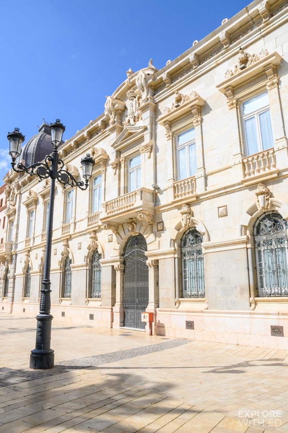 Beautiful stone buildings in Cartagena, Spain