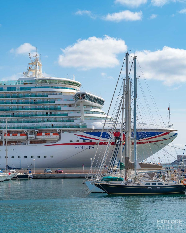 Ventura docked in Cartagena, Spain during an Iberian Cruise