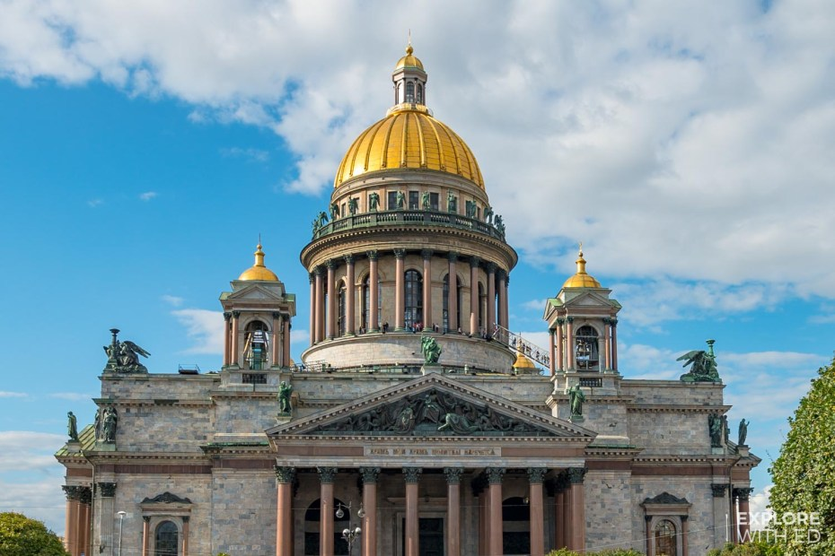 Exterior of St Isaacs Cathedral with gold dome