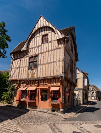Pretty Medieval half timbered buildings in Provins