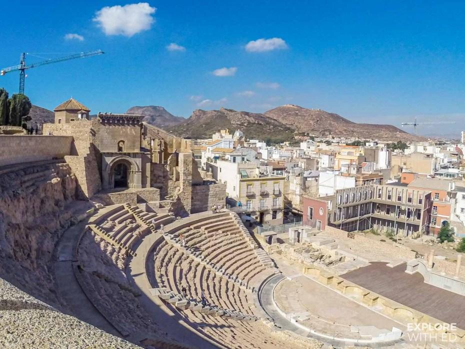 Roman Amphitheatre remains in Cartagena, Spain