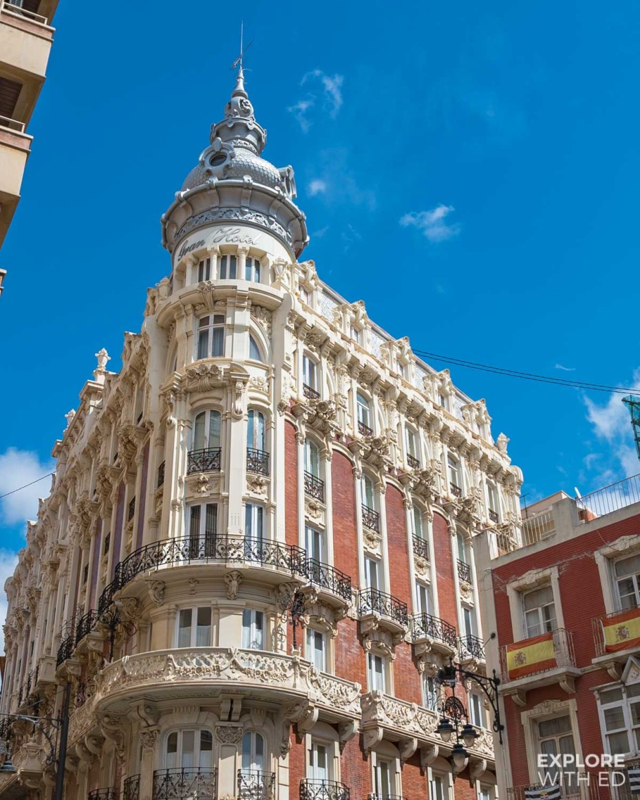 Beautiful city architecture in Cartagena, Spain
