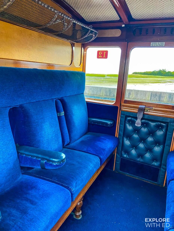 Inside Ffestiniog railway carriage