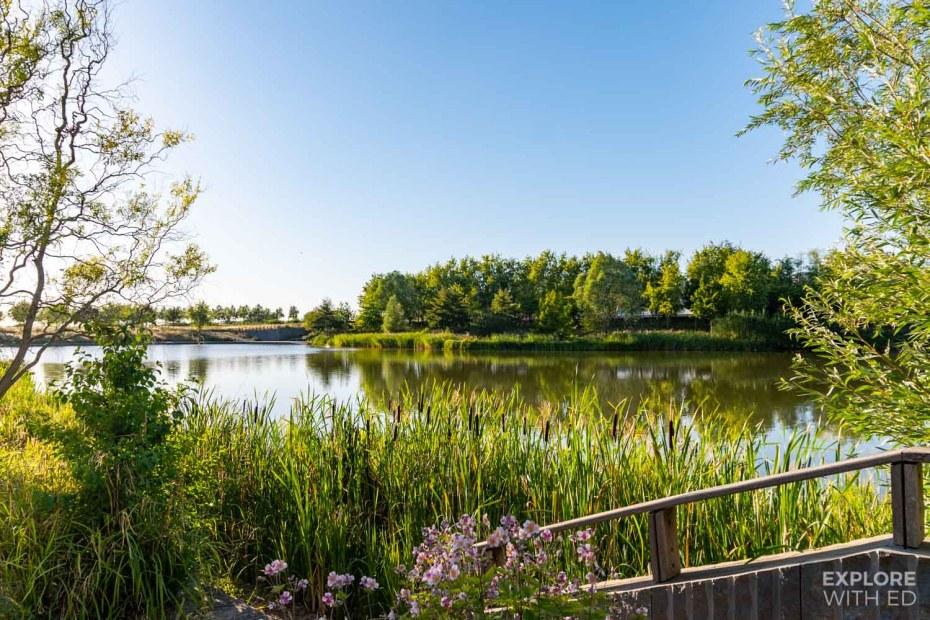 Tranquil lake area in Serris near Disneyland Paris