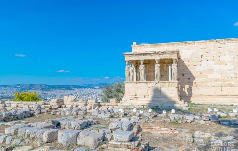 Acropolis Temple and view of Athens