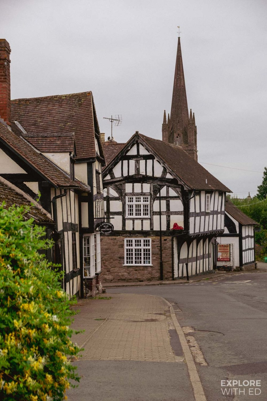 Weobley Broad Street view with Church spire