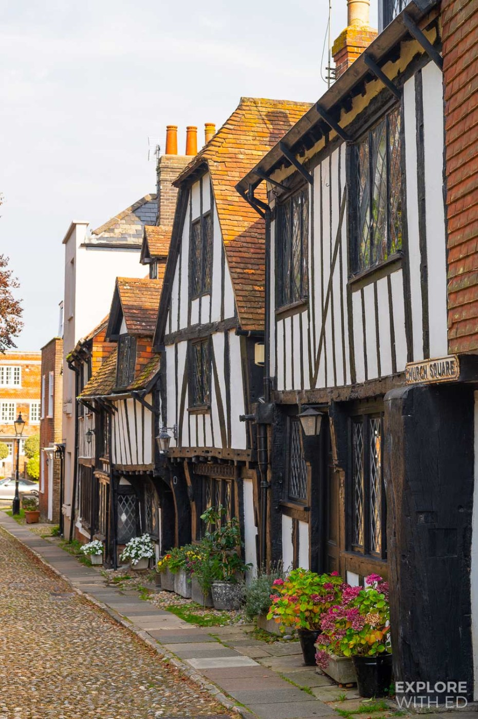 Black and white timbered buildings in Rye's Church Square