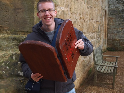 Edd inside Bodiam Castle