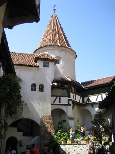 The internal courtyard of Bran Castle, Romania