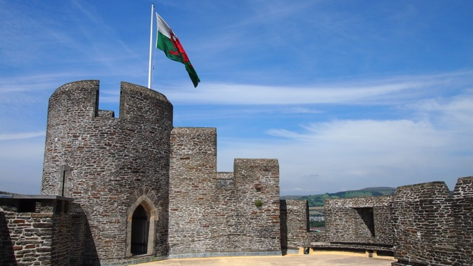 Atop Caerphilly Castle gatehouse