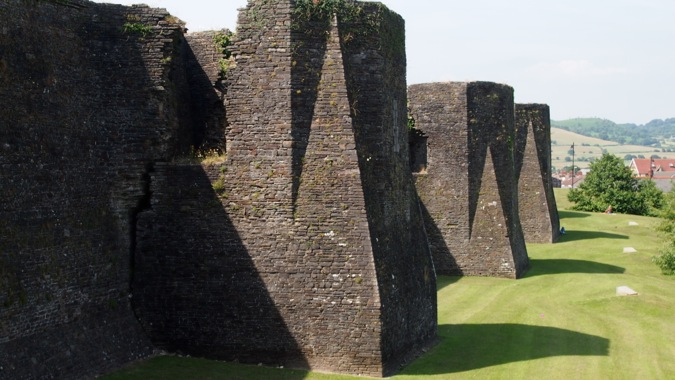 Caerphilly Castle moat wall