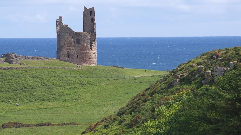 Side view of Dunstanburgh Castle gatehouse