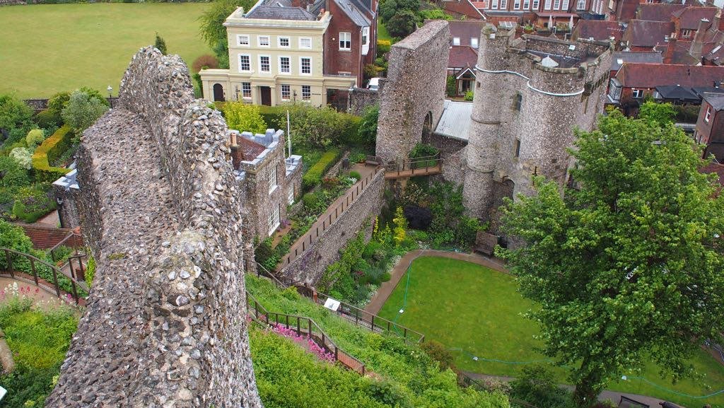 View on to the gatehouse and barbican of Lewes Castle