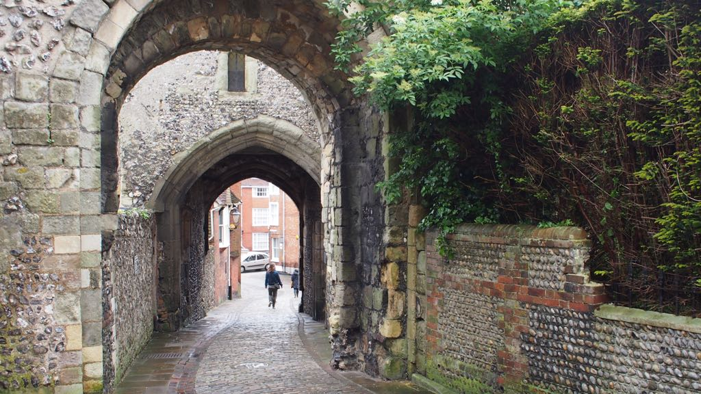 View back through barbican of Lewes Castle