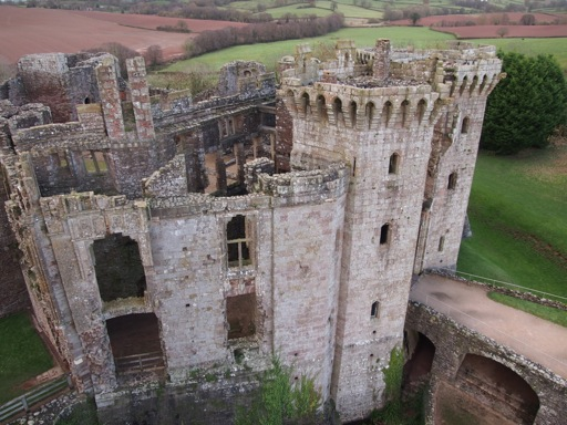 Aerial view of Raglan gatehouse