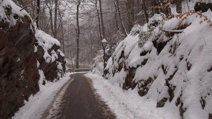 Snowy path to Schloss Hohenschwangau