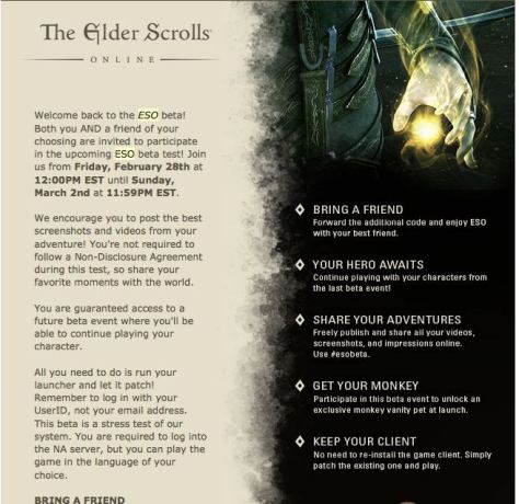 Elder Scrolls Online Beta - Invite a Friend